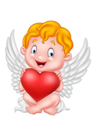 illustration of Funny little cupid holding love heart