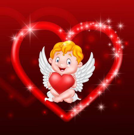 illustration of Little cupid holding heart Illustration