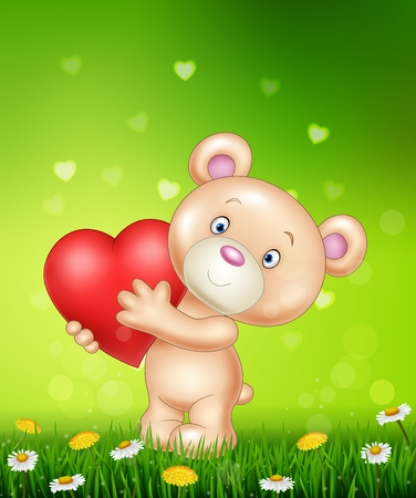 afecto: Illustration of Cartoon bear holding red heart on green grass Vectores
