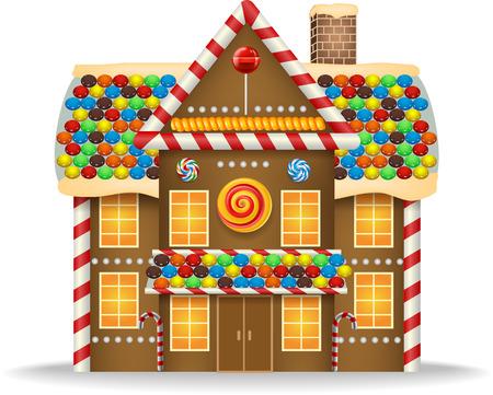 Vector illustration of Cartoon gingerbread house