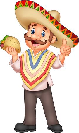 Ilustración vectorial de hombre mexicano sosteniendo taco