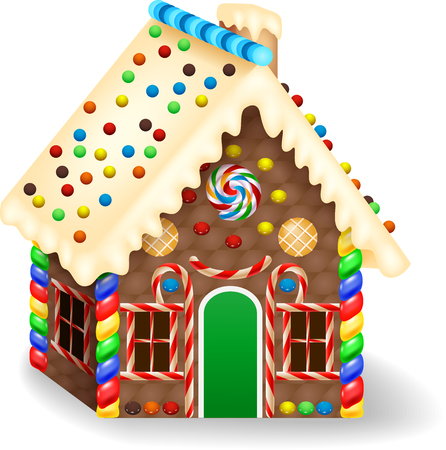 Vector illustration of Cartoon gingerbread house