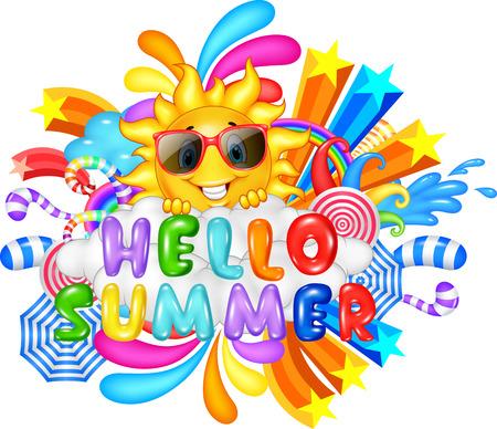안녕하세요 여름 방학 메시지의 벡터 일러스트 레이션 일러스트
