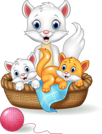 Vector illustration of Cartoon mother and baby cat Stock Vector - 74993055