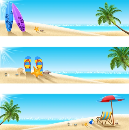 Vector illustration of Set of Three tropical beach
