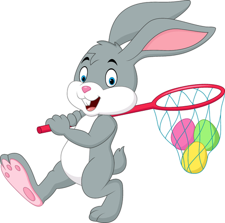 funny baby: Vector illustration of Cartoon rabbit hunting Easter eggs Illustration