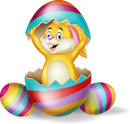 Vector illustration of Cartoon bunny come out from Easter egg