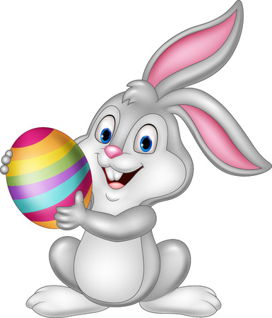 Vector illustration of Cartoon little bunny holding Easter egg