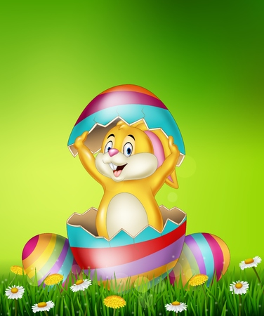 happy holidays: Vector illustration of Cartoon bunny come out from Easter egg