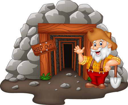 Vector illustration of Cartoon mine entrance with gold miner