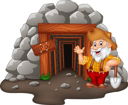 Vektor-Illustration von Cartoon Mine Eingang mit Gold Bergmann Standard-Bild - 74949205