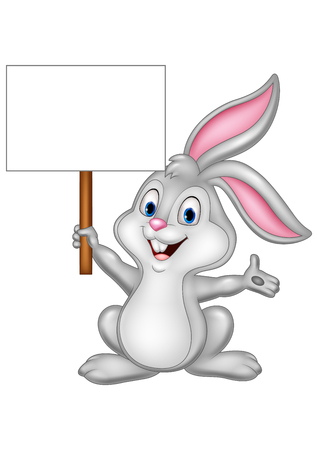happy holidays: Vector illustration of Cartoon rabbit abbit with blank sign Illustration