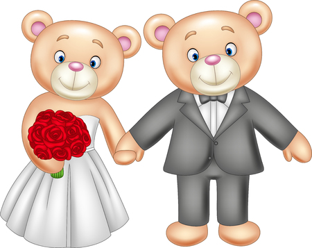 Vector illustration of Bride and groom teddy bears getting married