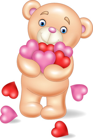 Vector illustration of Cartoon teddy bear hugging bunch of heart Illustration