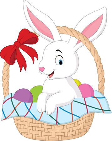 Vector illustration of Cartoon rabbit sitting in a bucket Illustration