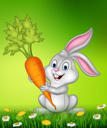 Vector illustration of Rabbit holding carrot