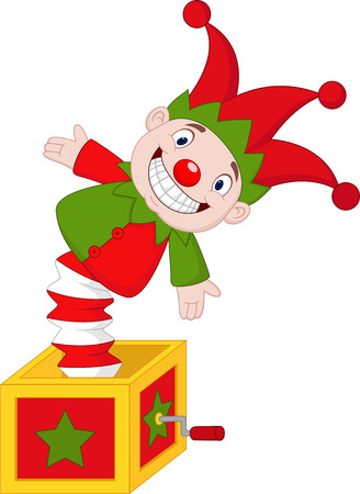 Vector illustration of Cartoon Amusing toy jumping out from a box