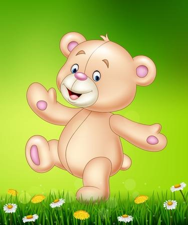 wave: Vector illustration of Cartoon happy teddy bear Illustration