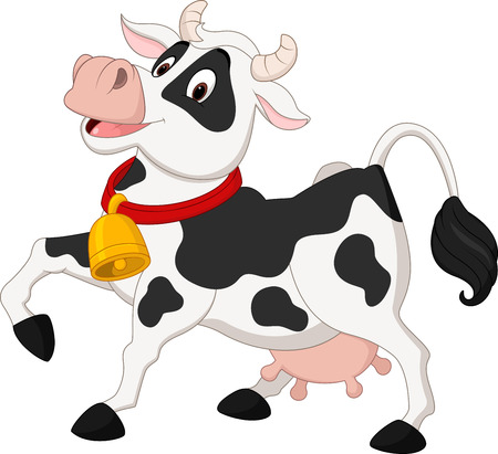 Vector illustration of Happy cow cartoon Illustration