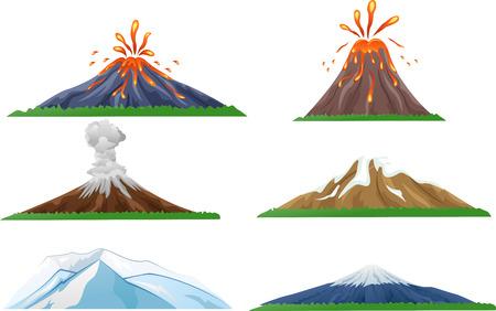 Vector illustration of Cartoon volcano eruption set