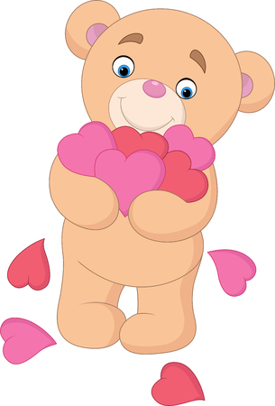 Cartoon teddy bear hugging bunch of heart
