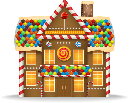 home icon: Cartoon gingerbread house