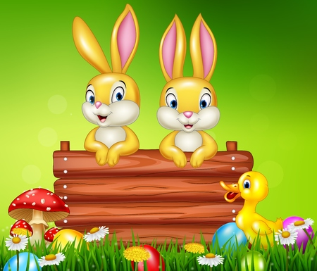 Cartoon little bunny with wooden sign Illustration