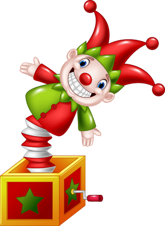 Cartoon Amusing toy jumping out from a box Illustration
