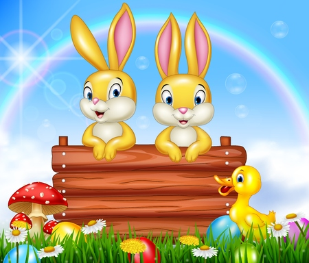 sign: Cartoon little bunny with wooden sign Illustration