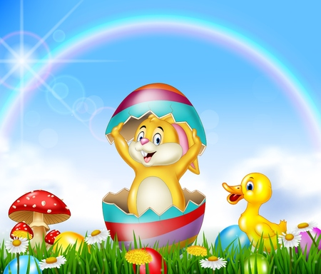 Cute Easter bunny inside cracked egg with nature background