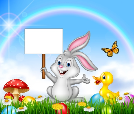 Happy little bunny holding blank sign with Easter background