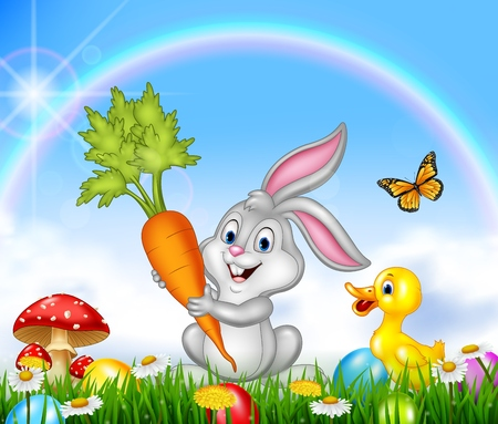 duck egg: Spring nature background with Rabbit and duck