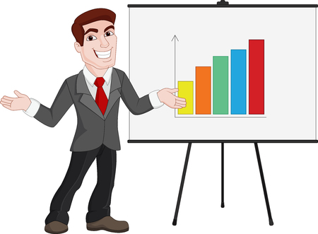 charismatic: Business Presentation. Businessman Shows Statistics on Board
