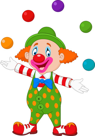 stage costume: Vector illustration Happy clown juggling with colorful balls