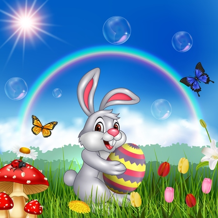 Vector illustration Cartoon rabbit holding an Easter egg with nature background