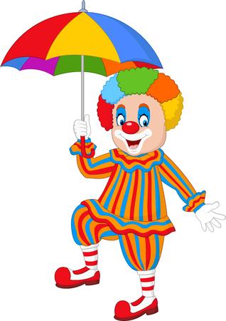 Vector illustration Cartoon funny clown holding an umbrella Illustration