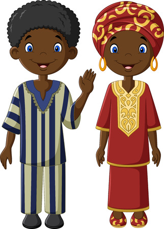 Vector illustration African children with traditional costume Çizim