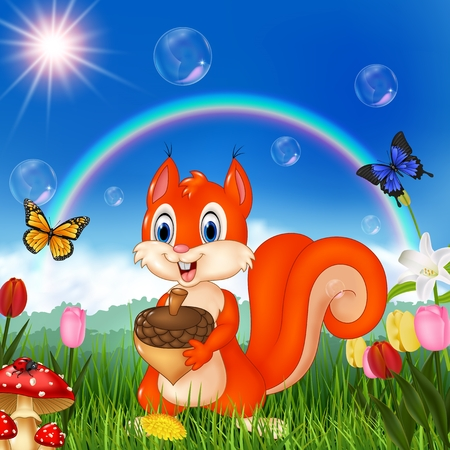 Vector illustration Nature scene with squirrel holding an accorn