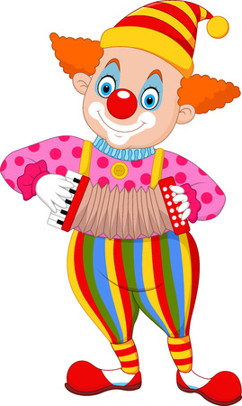 Vector illustration Cartoon clown playing accordion,