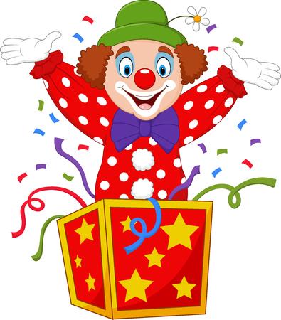 Vector illustratie Cartoon clown springen uit de doos