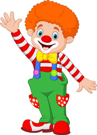 stage makeup: Vector illustration Cartoon happy clown waving hand Illustration