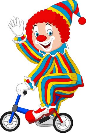 Vector illustration Cartoon clown riding bicycle