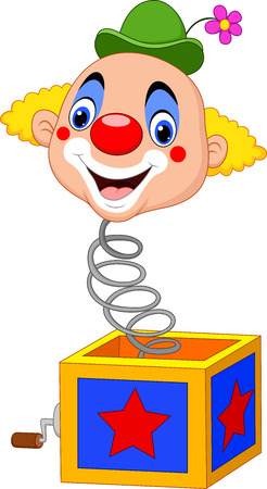 marioneta: Vector illustration Cartoon clown head coming out of the box