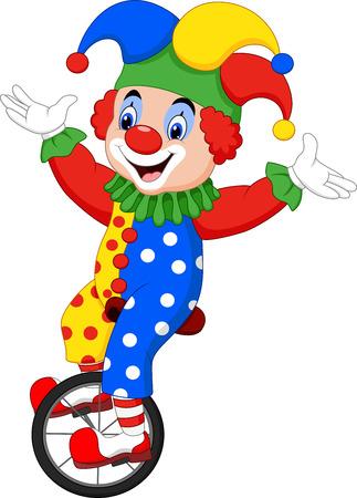 Vector illustration Cartoon clown riding one wheel bike