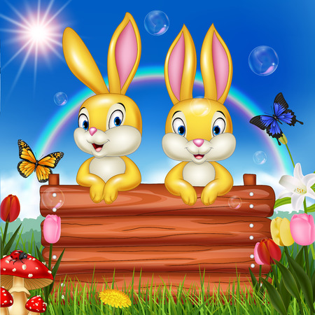 Vector illustration Little bunny with wooden sign