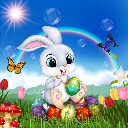 Vector illustration Cartoon rabbit decorating an Easter egg Vektoros illusztráció