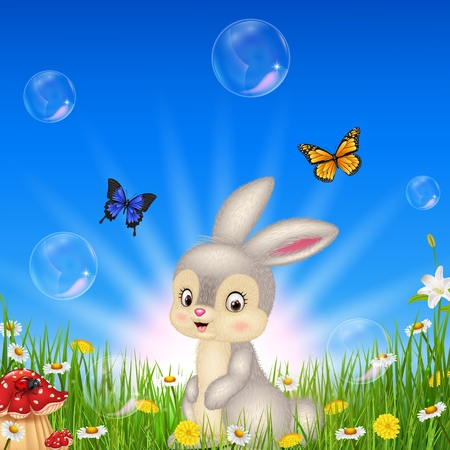 Vector illustration Cartoon small rabbit with nature background