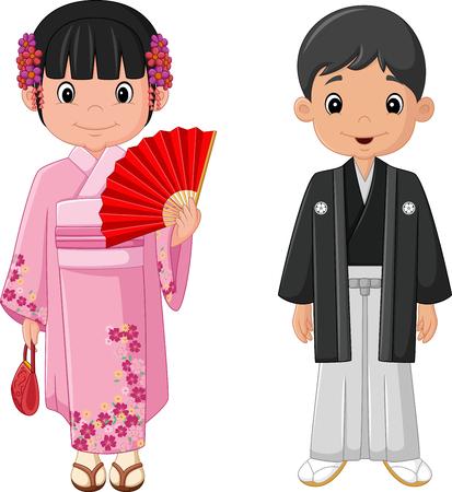 Dibujos animados pareja japonesa vistiendo traje tradicional Ilustración de vector