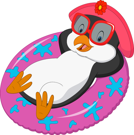 swimming cap: Cartoon female penguin relaxing on inflatable ring Illustration