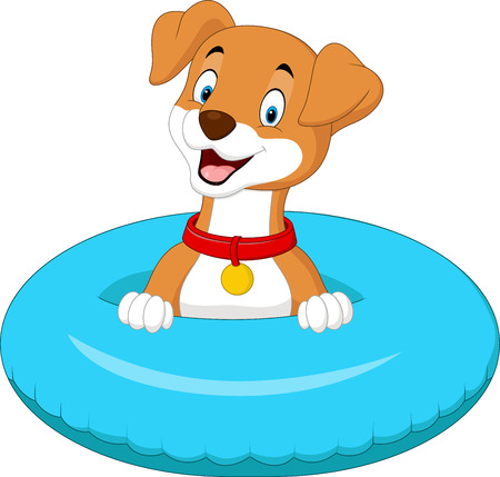 Perro de dibujos animados con anillo inflable